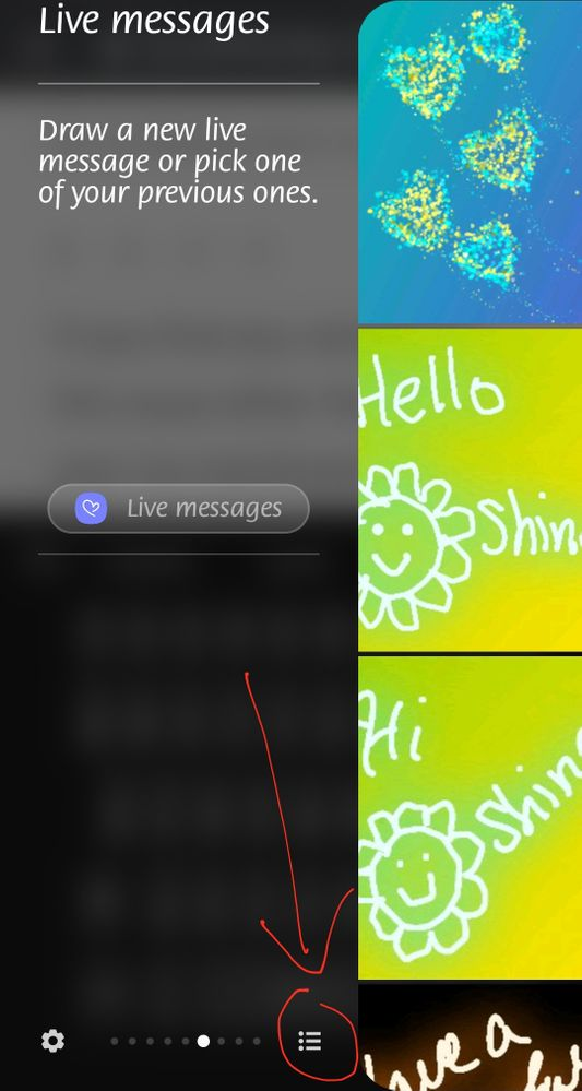 After opening your Edge Panel this is what I'm referring to as reassembling a hamburger menu that you can try selecting to look for Live Messages