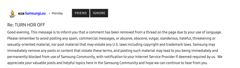 Here's @SamsungLou telling me that I was violating the terms with this message, which is not true, I sent them 2 messages trying to get them to explain the issue and still haven't got back from them