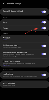 Enable location based Reminders