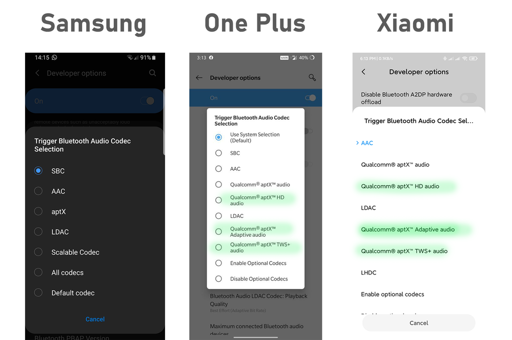 Bluetooth Codecs Samsung One Plus and Xiaomi.png