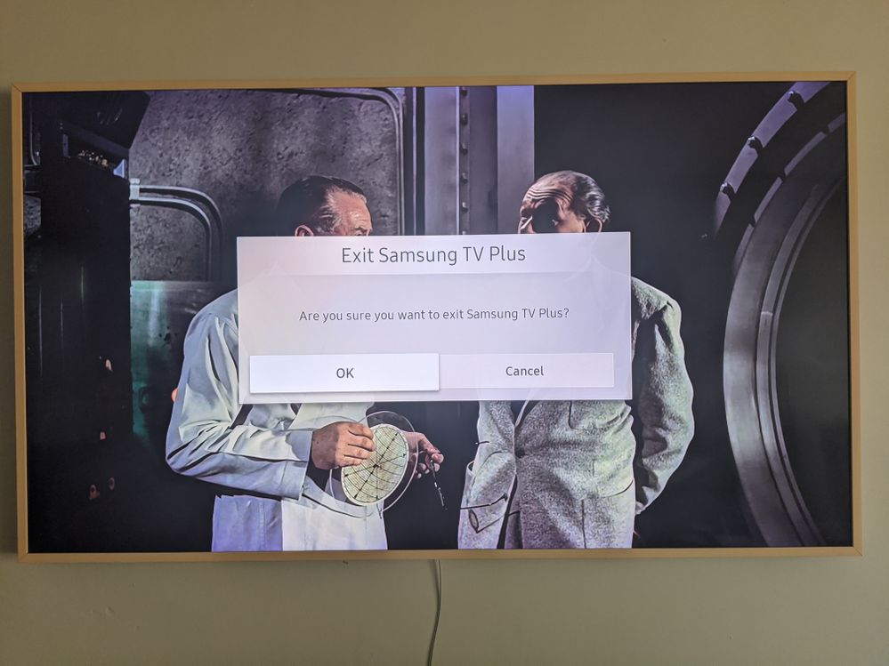 2019 The Frame result of pressing back button on remote (window with exit appears)