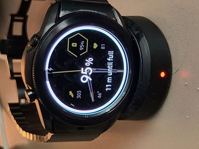 Galaxy Watch 3 on Galaxy Watch Charger - initial placement into charger