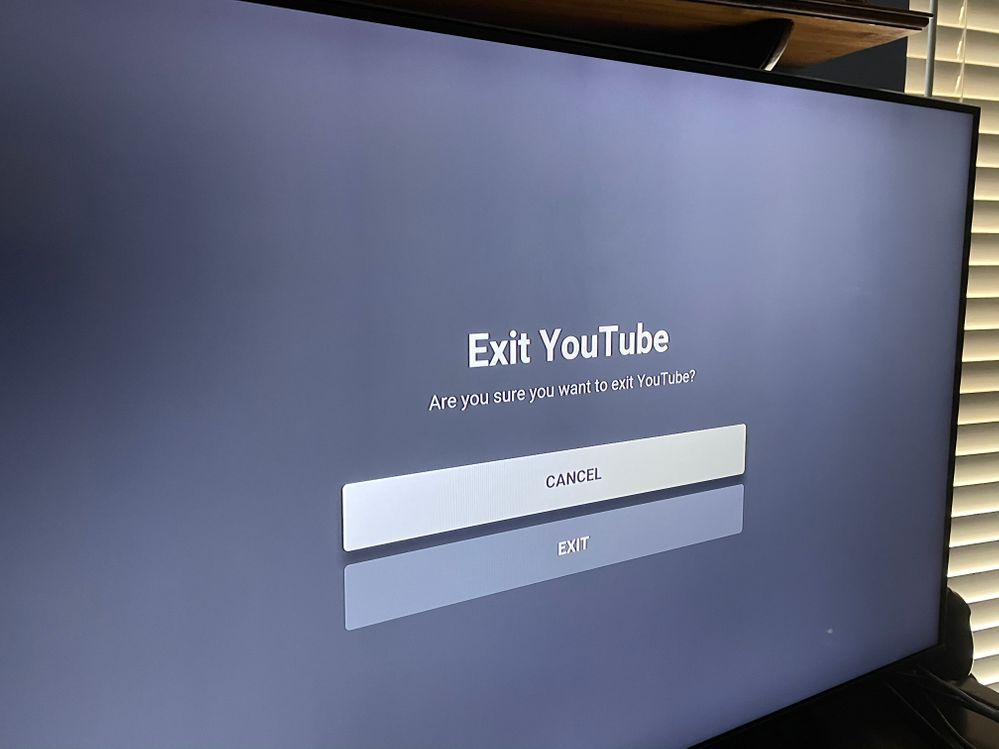 "In the center of the screen. Above ""Exit YouTube."""
